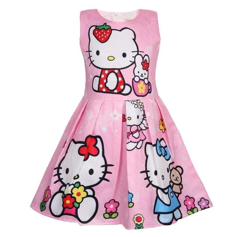 7d100ba3730 2019 Girl Dress Summer Hello Kitty Dresses For Girls Party Dress For Girls  Cute Princess Children Clothing 2 8 Years Old From Laurul, $42.65 |  DHgate.Com