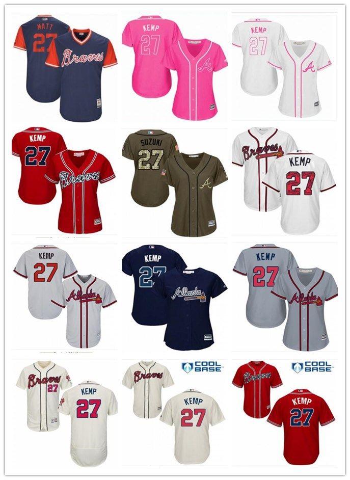 2019 2018 Top Atlanta Braves Jerseys   27 Matt Kemp Jerseys  Men WOMEN YOUTH Men S Baseball Jersey Majestic Stitched Professional  Sportswear From ... 183d52faa22