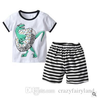4382bc307 2019 Boys Clothing Set 2019 Summer Short Sleeve Cartoon Dinosaur Donut  Disturb Tops Kids Clothing Set T Shirt Shorts Pants Cotton Boys Clothes  From ...