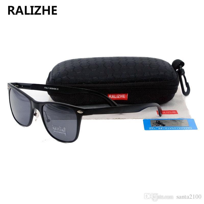 7b040dc148 RALIZHE Square Aviation Alloy Aluminum Magnesium Polarized Sunglasses For  Mens Womens Driver Fishing Sun Glasses HD TAC Black Lens UV400 Polarized ...