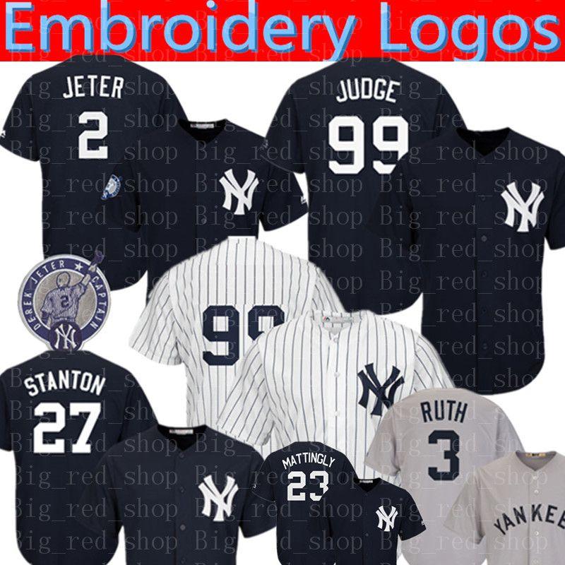 2019 New York Yankees Jersey 2 Derek Jeter 99 Aaron Judge 27 Giancarlo  Stanton 24 Gary Sanchez 51 Bernie Williams 7 Mantle Baseball Jerseys From  ... f9dc9be0360