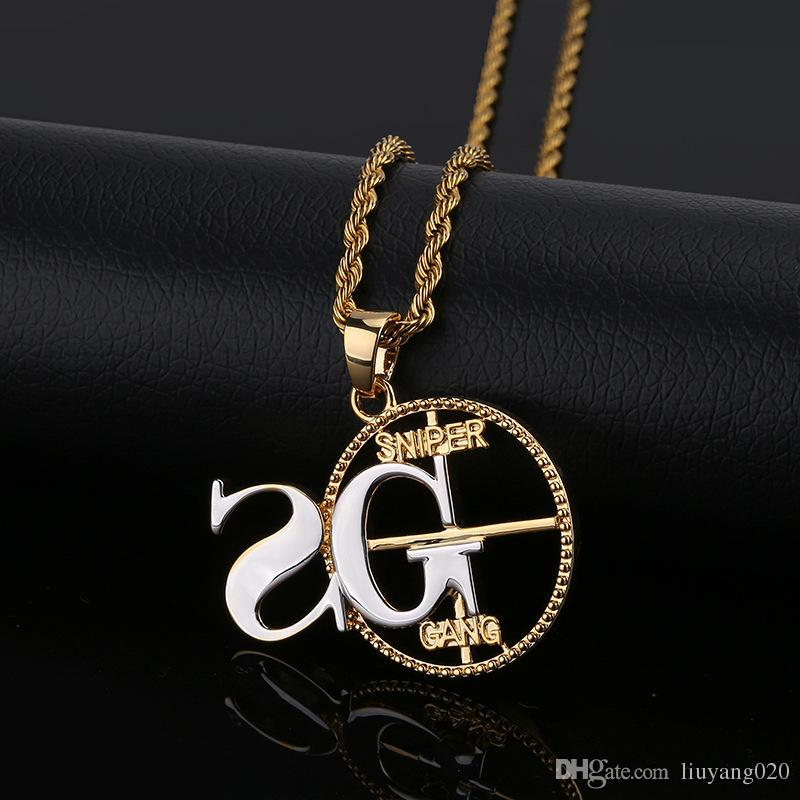 Personalized Solid Back SNIPER Pendant Necklace Men Hip Hop/Punk Gold Silver Color Charms Chain Jewelry Gifts