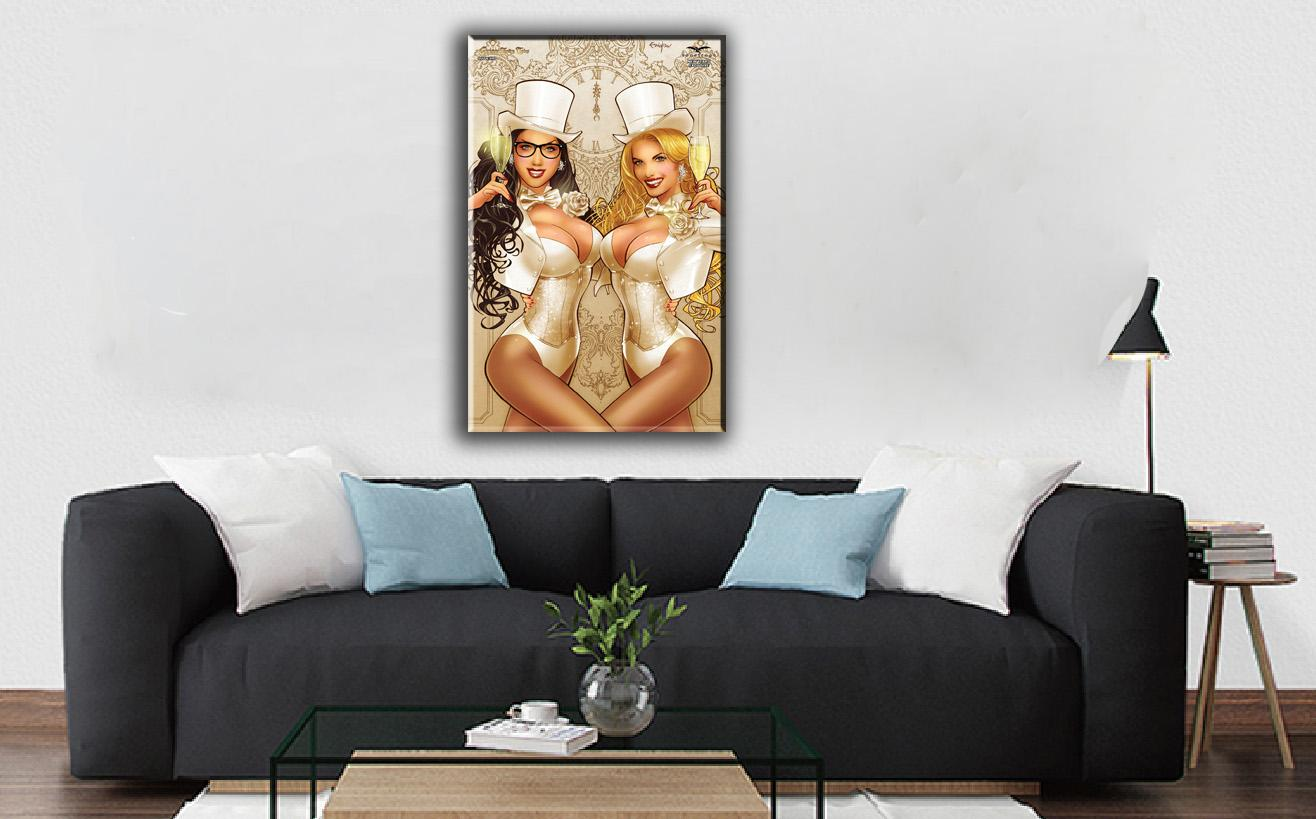 Cartoon Art Champagne Girl,Oil Painting Reproduction High Quality Giclee Print on Canvas Modern Home Art Decor