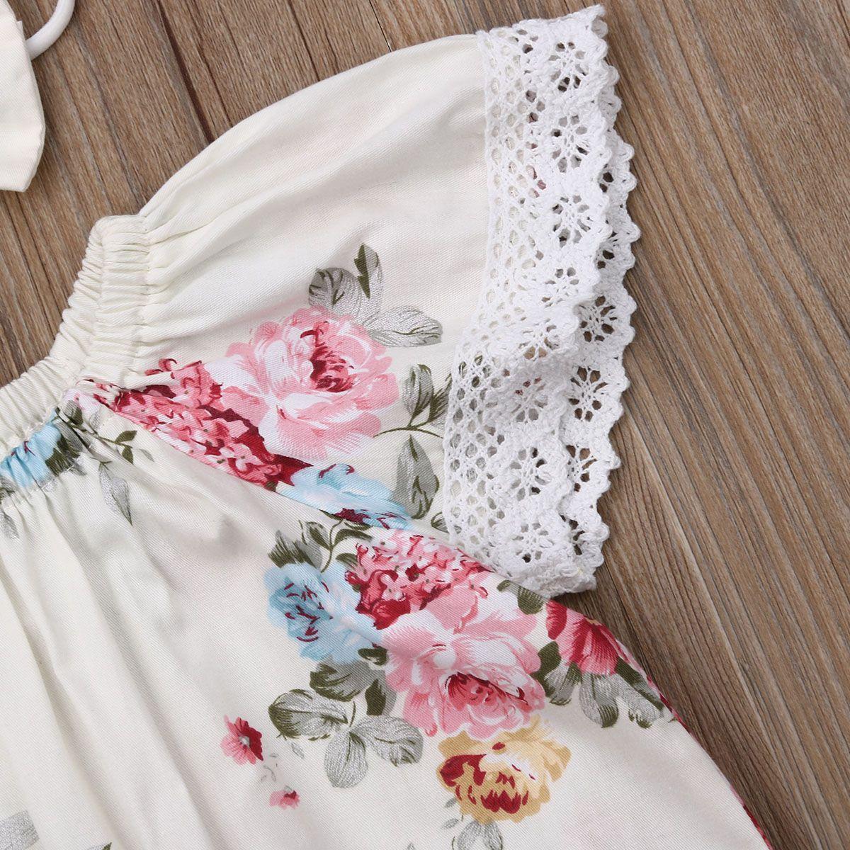 Новорожденного младенца Девочки Bodysuits Эпикировка принцесса Симпатичные цветочные Комбинезоны Одежда оголовье Комплекты для новорожденных Little Baby Костюмы