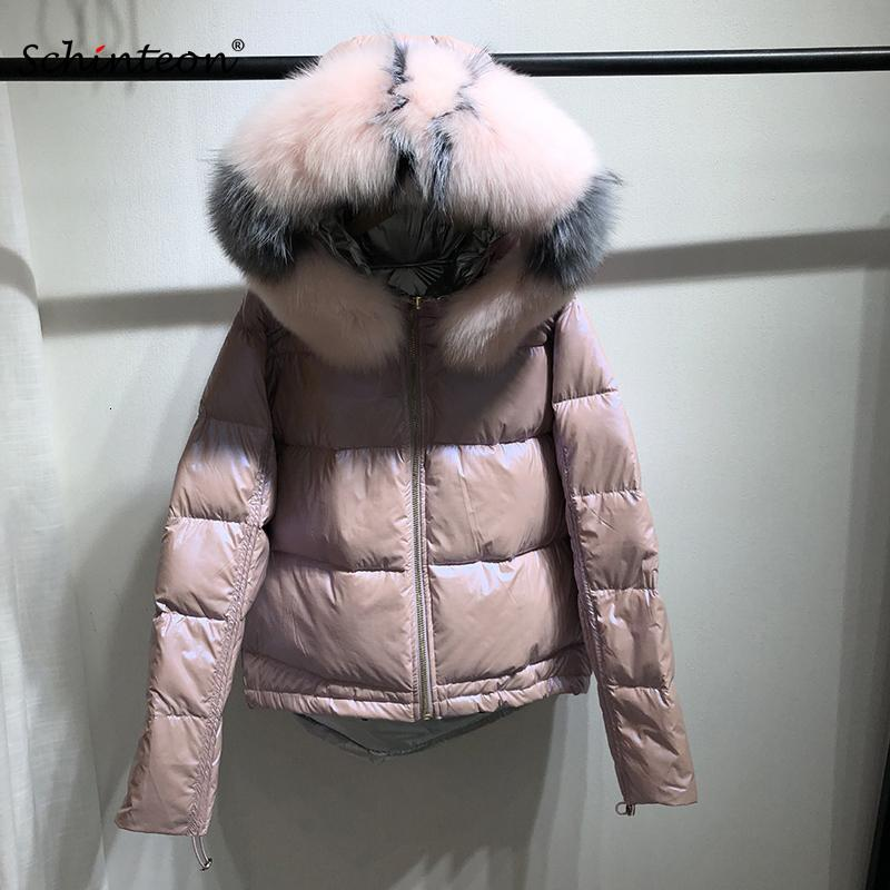 2019 Schinteon Mulheres Winter Down Jacket Pato Branco Big real Fox Fur Collar capa Outwear reversível Two Side desgaste SH190917 Brasão Waterproof