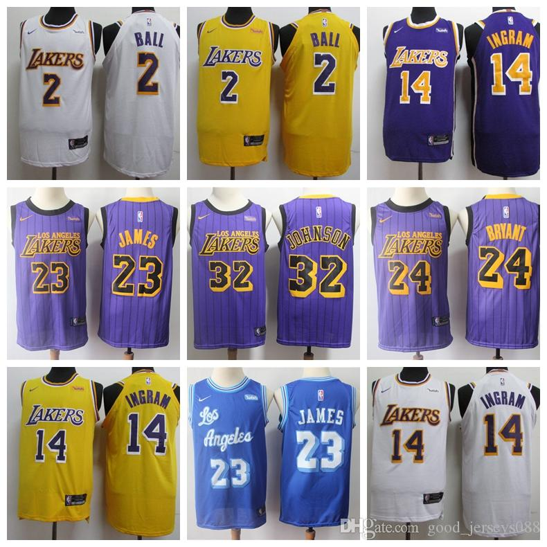 2019 Los Angeles Basketball Lakers Jersey 2 Lonzo Ball 23 LeBron ... 7db3d0d37