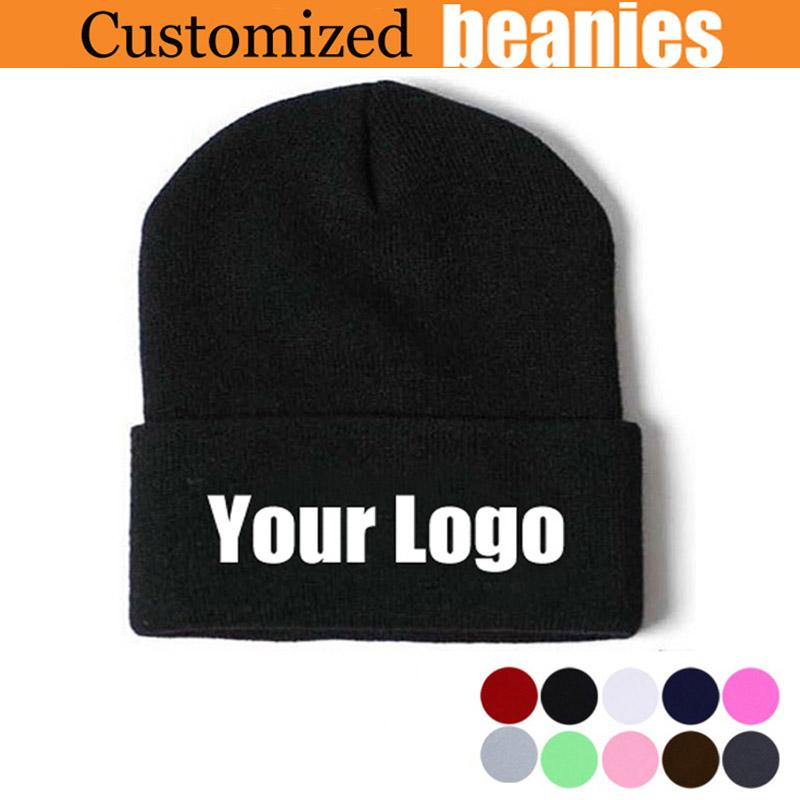 af807cbf95e99 Customized Beanies for Women Men Quality Winter Cap Personalized Skullies  Embroidery Long Cuff Caps 100PCS/LOT Free Express