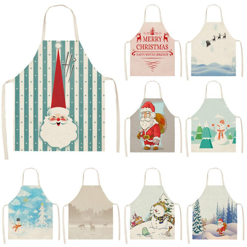 Christmas Apron Santa Claus Snowman Pinafore Cotton Linen Aprons Adult Bibs 53*65cm for Home Kitchen Cooking Baking