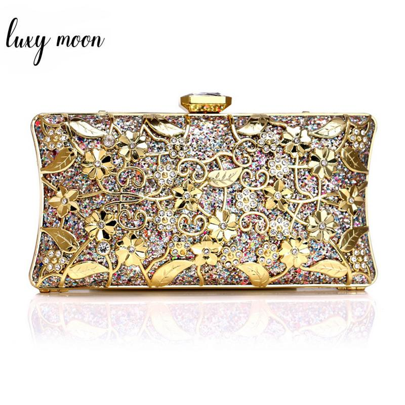 Luxury Diamonds Clutches Female Sequined Day Clutch Hollow Out Metal Flower Evening  Bags Wedding Party Bag Chain Shoulder Bag Ladies Bags Leather Satchel ... 4b384889e0ea