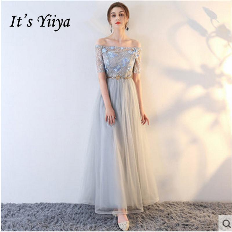 7c0d4e3c3b4c4 It s YiiYa 2018 4 Styles Short Sleeve Boat Neck Fashion Designer Lace  Bridesmaids Dresses Ankle-Length Formal Dress