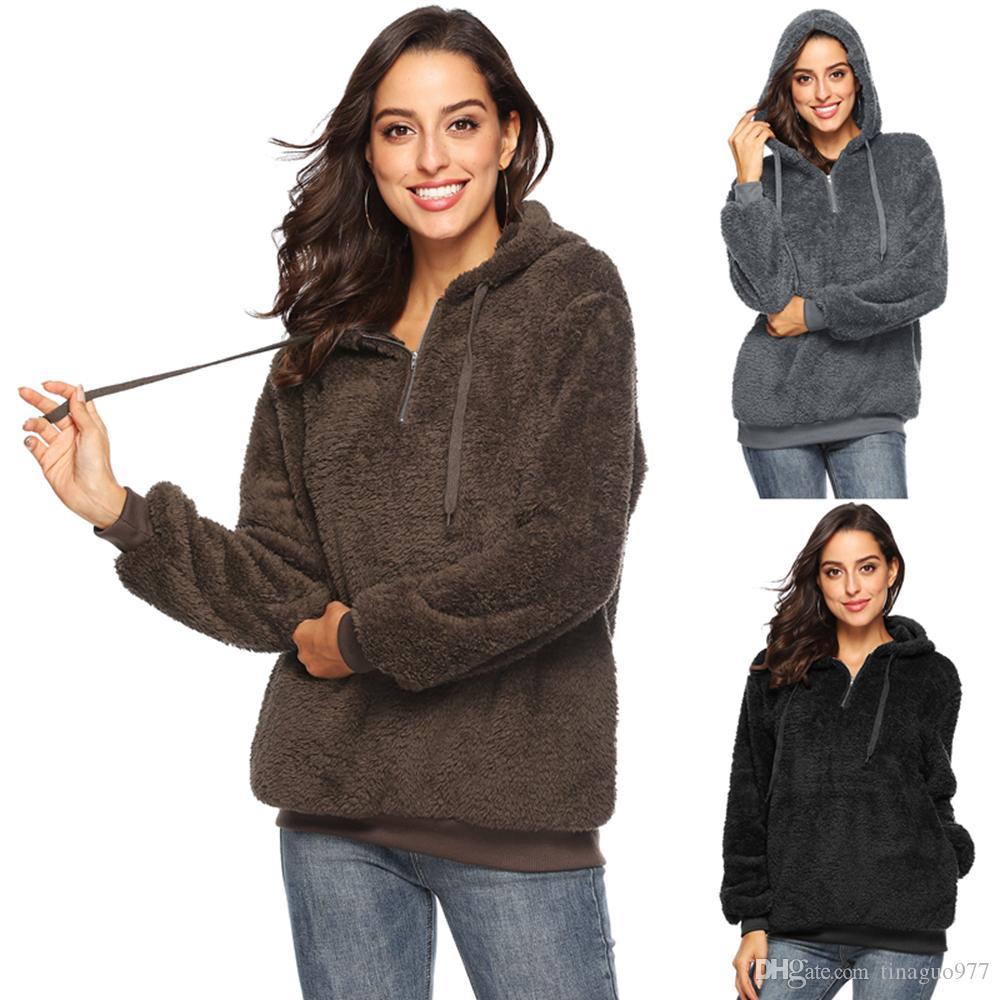 df70fe7028 Fleece Women Hoodie Sweatshirts Winter Fuzzy Coat Oversized Hooded ...