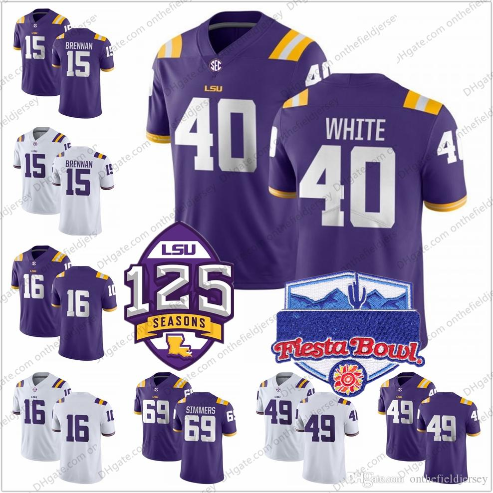 new arrival 0ffa5 3f6d4 NCAA LSU Tigers #40 Devin White 49 Arden Key 69 Turner Simmers 15 Myles  Brennan 16 Danny Etling 125th Fiesta Bowl Football Jerseys S-3XL