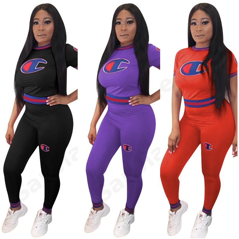 7e34b6e85df 2019 2019 Spring Summer Women Champions Tracksuit Fashion Tshirt Pants Two  Piece Casual Set Striped Joggers Jogging Suits S XL C3273 From  Factory_goods, ...