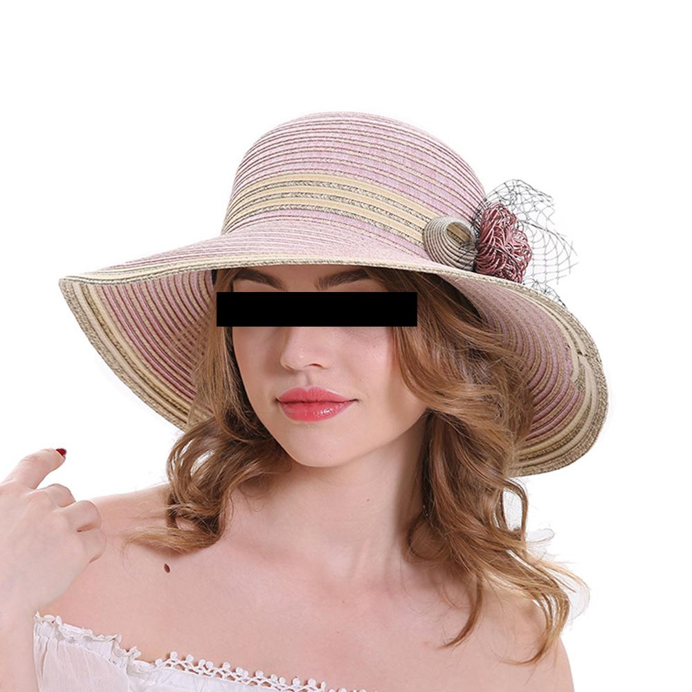 Straw Sunshade Hats Casual Big Eaves Cap Wide Brim Hats Portable Seaside Summer Sun Hat Women Flower Decor Beach Cowboy