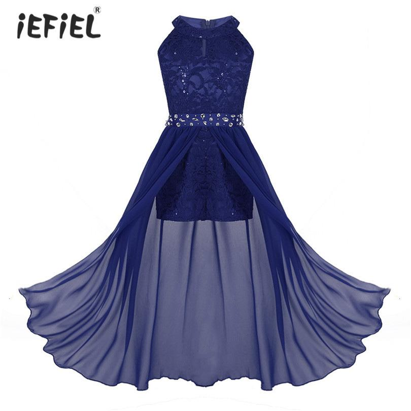 ea3172af5276 2019 Girls Sleeveless Floral Lace Girls Flower Dress Rhinestone Maxi Dresses  Pageant Princess Girls Birthday Party A Line Dance Dress Y190515 From ...