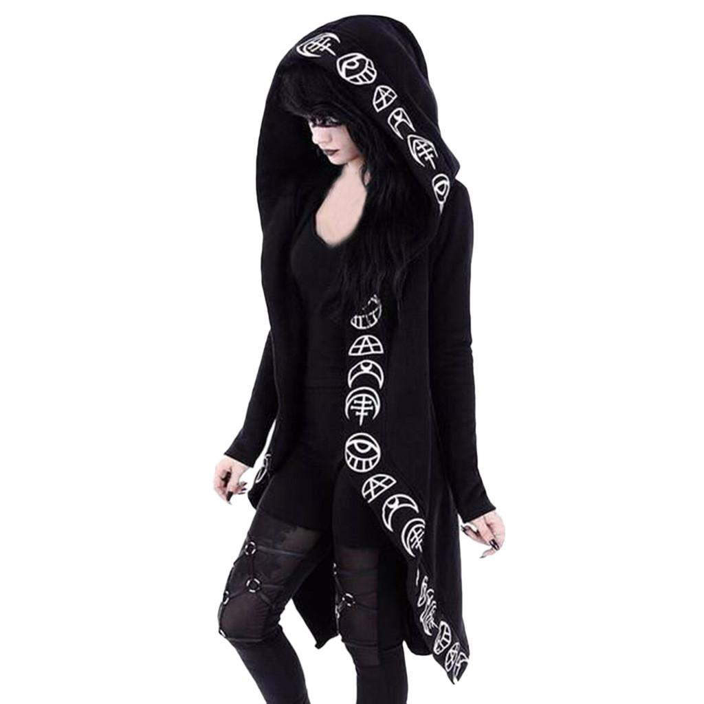 Hot print cardigan Black Long Sleeve Punk Moon Print Hooded Black Cardigan Jacket Coat Plus Size for Women cosplay