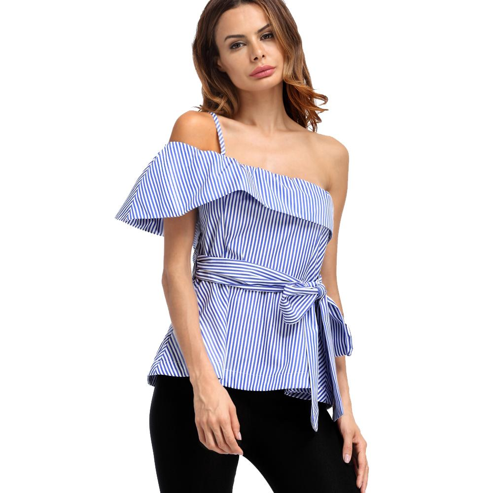 Off The Shoulder Shirt Bandage Tie Sexy Blue Stripe Unique New Look Elegant Lady Blouse Short Party Evening Dinner Top 8391