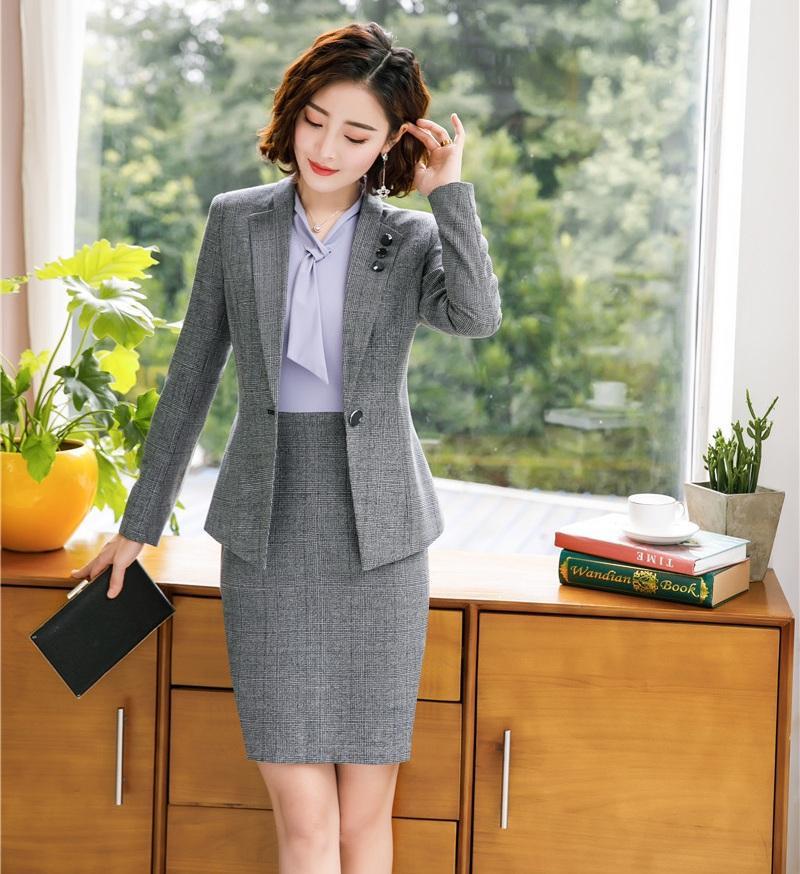 21407636fc040 Acquista Abiti Da Lavoro Donna Formale Grigio Blazer Donna Con Gonna E  Giacca Imposta Abbigliamento Da Lavoro Elegante Ufficio Stile Di Design  Uniforme A ...