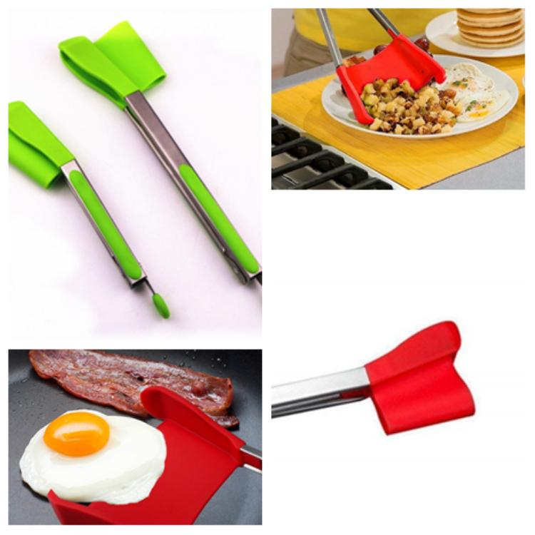 hot Kitchen spatula pliers non-stick pan heat resistant stainless steel food clip intelligent silicone clip kitchen helper T2I5149