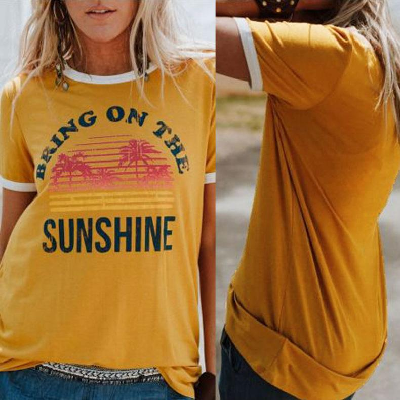 Letter Printed Shirts Women Bring On the Sunshine Letter Tumblr Graphic  Tees Summer Coconut Tree Printed T-shirts LJJO6626