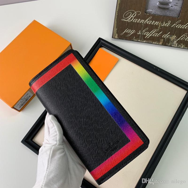 Top Quality Leather Wallet with Stamp 196*10*2cm Colorful Luxury Wallet Long Purse Handbag Gift for Love Epacket Shipping