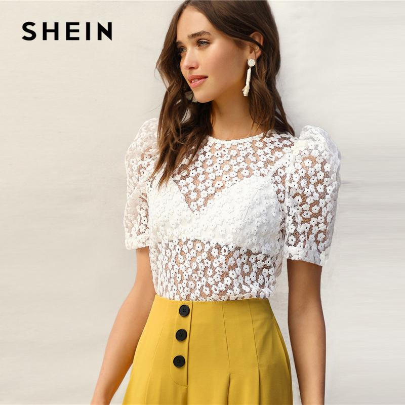 4f1d8b879d2e 2019 Shein Sexy White Knot Back Puff Sleeve Embroidery Floral Mesh Sheer Blouse  Women Without Bra Summer Elegant Tops And Blouses C19041201 From Shen8407,  ...