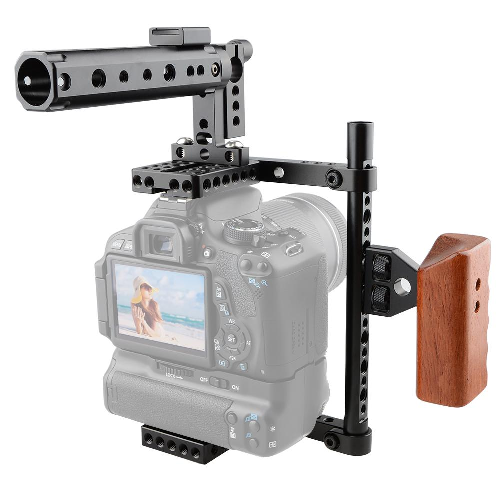 Freeshipping DSLR Camera Cage Protector Camera Stabilizer Top Handle Wood  Grip for Canon 600D 70D 80D, GH5