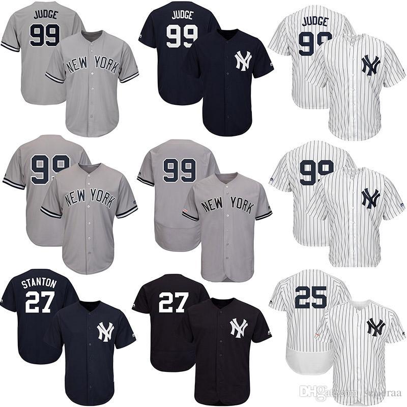 super popular e672e ba519 Mens Aaron Judge Custom Yankees Jersey 2019 Player Aaron Judge Gleyber  Torres Giancarlo Stanton Gary Sanchez Baseball Jerseys