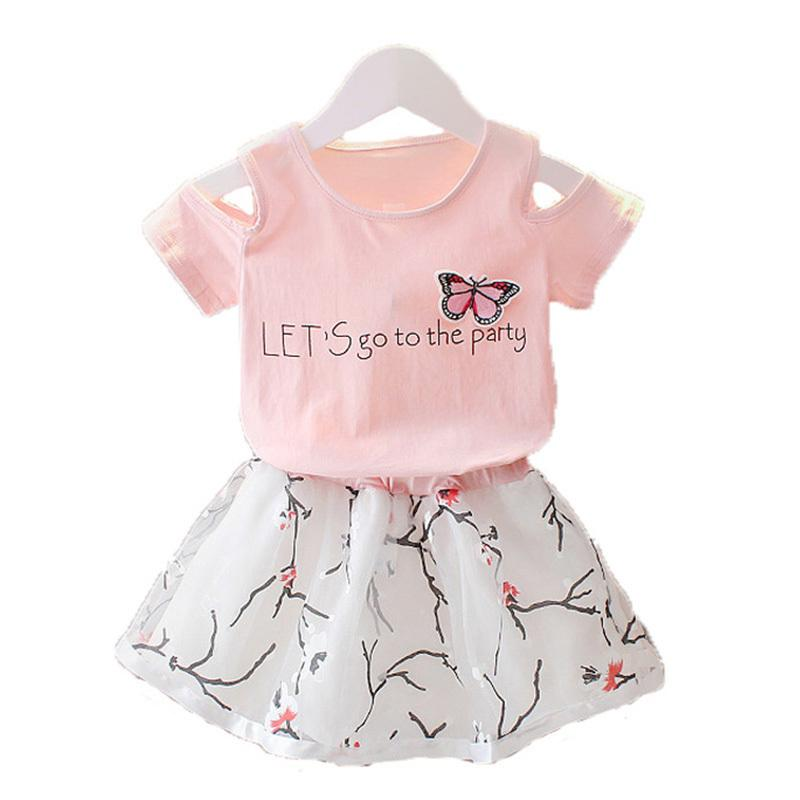 4ff159cb0 2019 Baby Girls Clothing Set Summer Cotton Kids Butterfly T Shirt ...