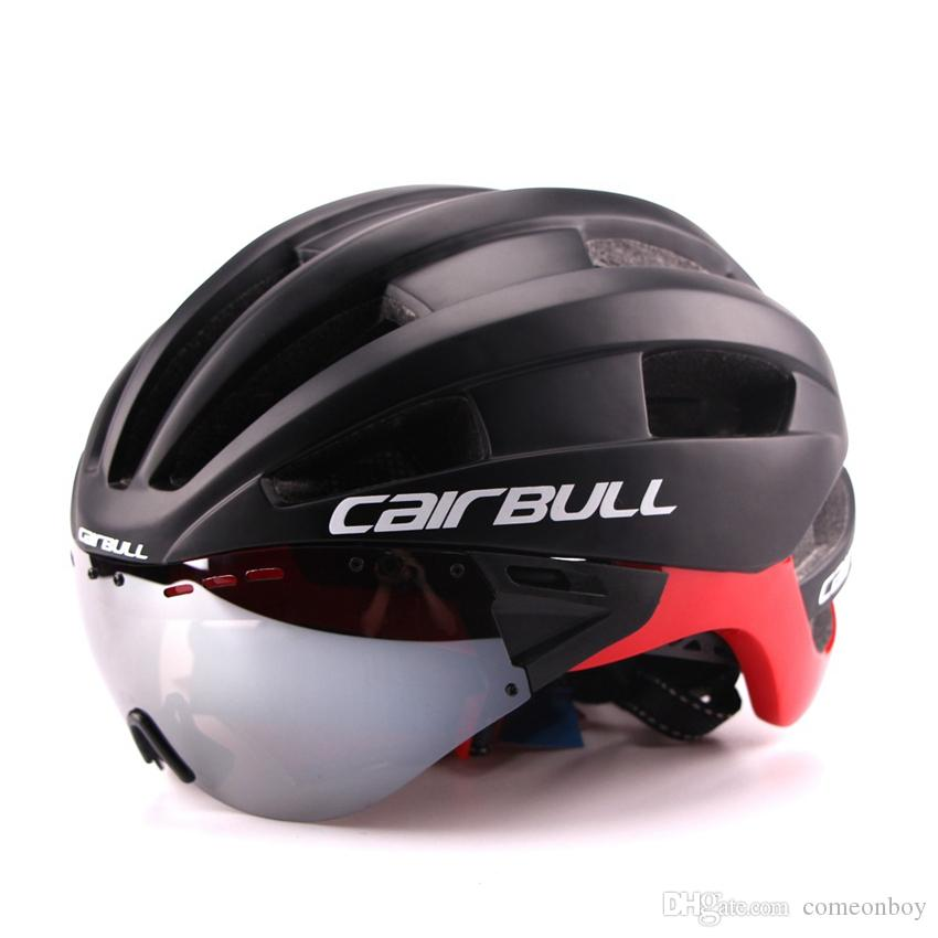 Ultra-light 235g Goggles Cycling Helmet Road Mountain MTB Bicycle Gear In-mold Bike Helmet With Sun Visor Helmets M54-58cm