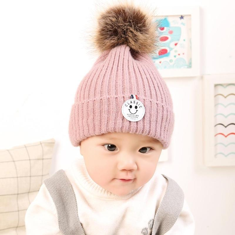 8eae52767cd6 2019 Cute Baby Boys Girls Winter Warm Hat Beanies Cap Pompom Casual ...