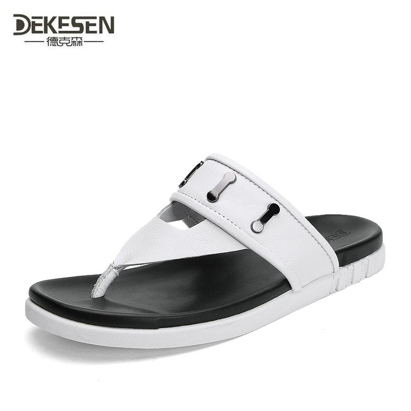 2ed0af30fb25 Cow Leather Beach Men Slippers Flip Flops With Soft Sole Trendy Breathable  Men Summer Shoes Fashion Beach Sandals Shoes Fur Boots Glass Slipper From  ...