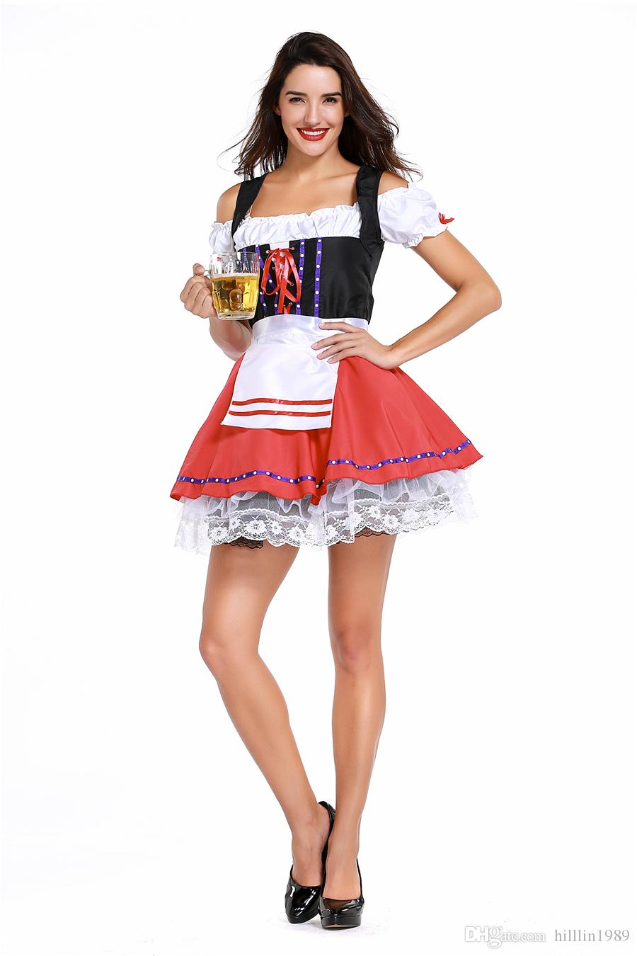 Women Carnival Sexy Short Oktoberfest Dress European Traditional Theme Costume German Bavarian Beer Girl Cosplay Uniform