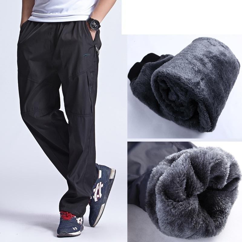 08f663c0b 2019 New Autumn Winter Warm Fleece Pants Mens Thick Wool Trousers Man's  Elastic Waist Heavyweight Pants Male With Zipper Pocket Y190413