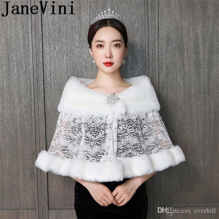 JaneVini Bolero Spitze Ivory Fur Bruids Cape Lace Shawl Winter Wedding Dress Jacket Beaded Pin Adult Faux Fur Bridal Wraps Capes