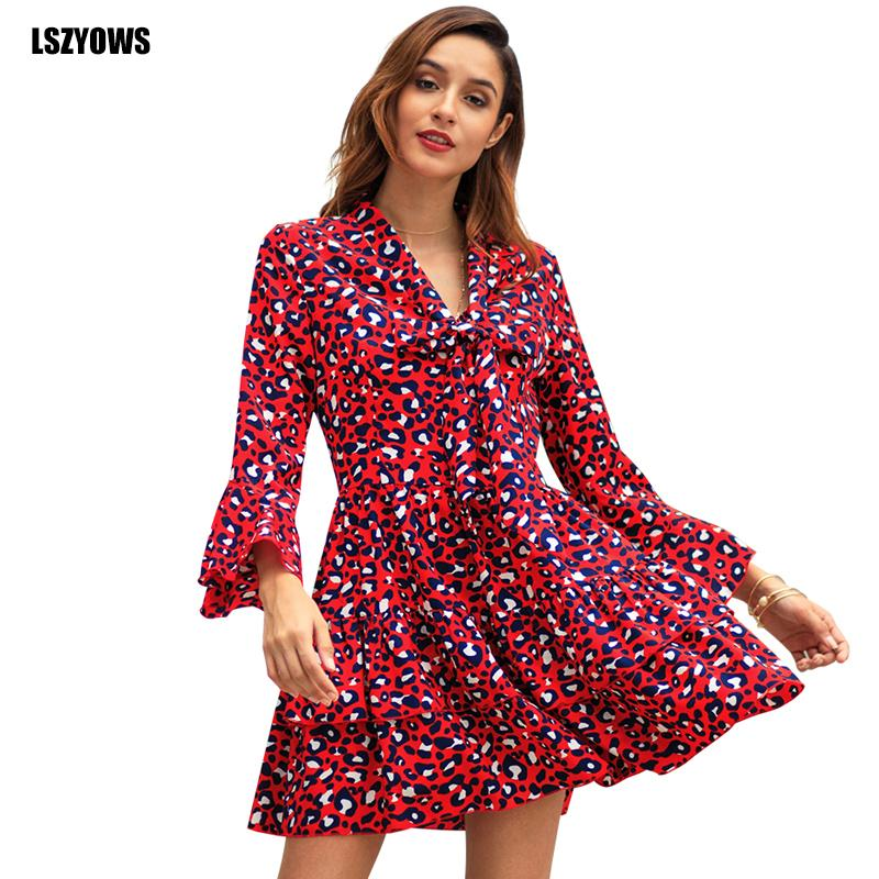69f4c5a15f30 LSZYOWS 2019 Vintage Red Leopard Print Dress Bow Long Flare Sleeve Ruffle  Mini Dress Women Elegant Party Dresses Casual Vestidos Casual Cocktail Dress  Pale ...