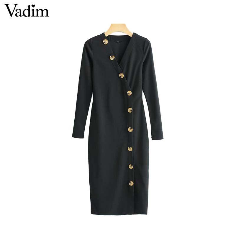 36fd08e2a3b97 Vadim women V neck black midi dress buttons long sleeve slim fits dresses  solid female casual chic sheath vestidos QB006