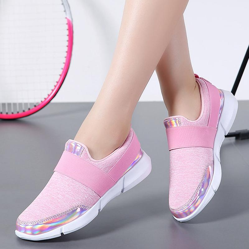 989dc18004b Spring Autumn Women Sneakers Slip On Casual Shoes Woman Loafers Ladies  Comfortable Flats Mesh Breathable Stretch Cloth Shoes Ladies Shoes Loafers  For Men ...