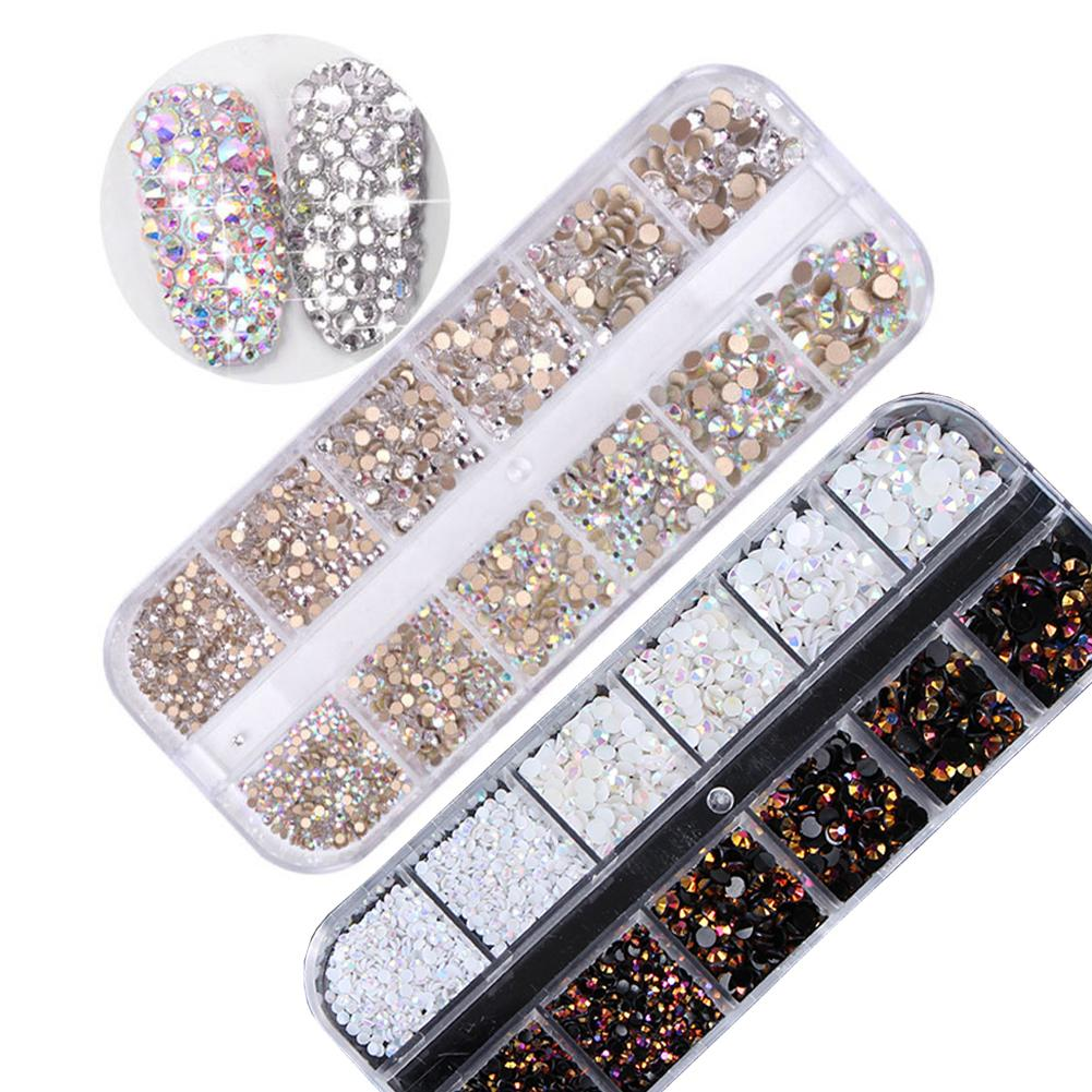 9346e8272b Multi-size 12 grids Glass Nail Rhinestones Mixed Color Flat-back AB Crystal  Strass 3D Charm Gem DIY Manicure Nail Art Decoration