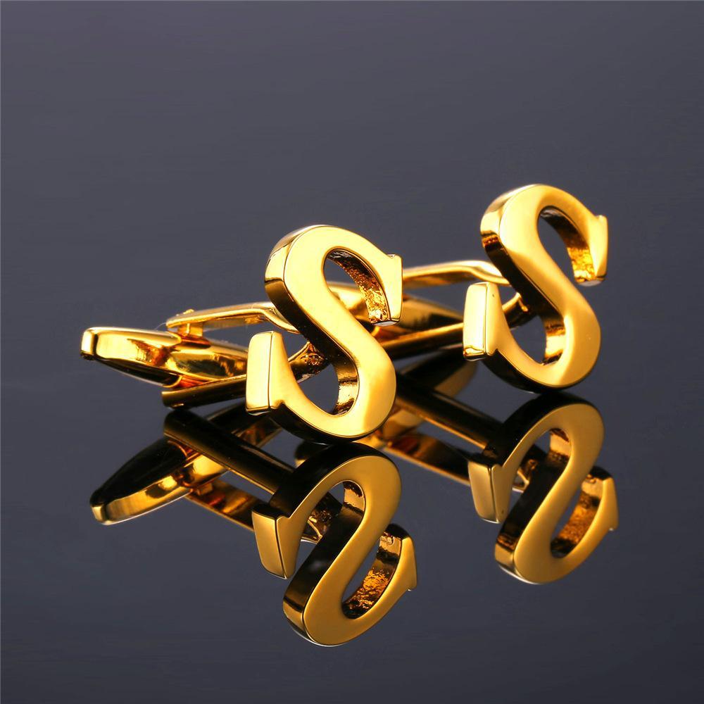 U7 Yeni Alfabe S Mektup Kol Düğmeleri Moda Takı Trendy Altın Renk Adı Erkekler Düğme Kol Düğmeleri Toptan C219
