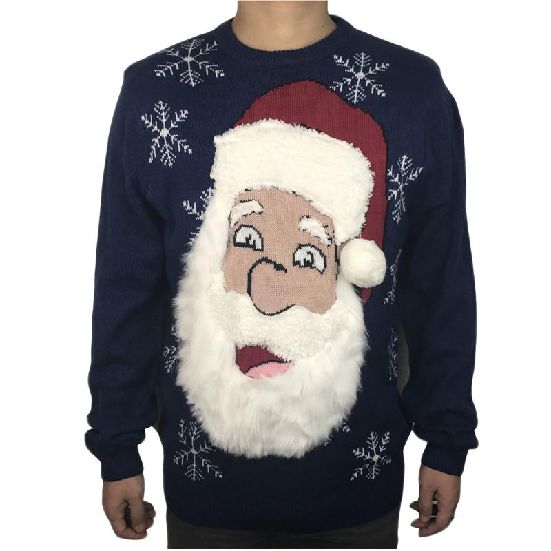Funny Knitted Bearded Santa Claus Ugly Christmas Sweater for Men Cute Men\u0027s  Fuzzy Fluffy Xmas Pullover Jumper Oversized S,2XL