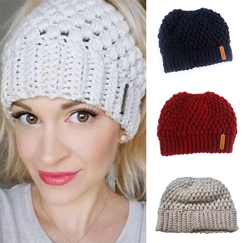 Ponytail Beanie Winter Hats For Women Crochet Knit Cap Skullies Beanies Warm  Caps Female Knitted Stylish Hat Ladies Beanie Caps Slouchy Beanie Crochet  ... a0c7acc46ae