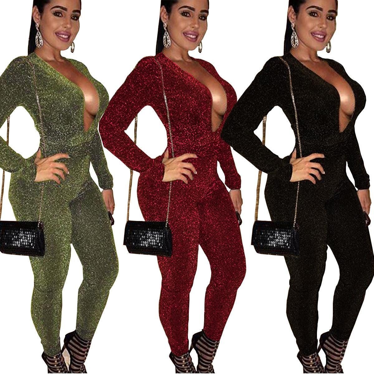 Metallic Glitter Women Bandage Jumpsuit Sexy Deep V Neck Long Sleeve ... ba61b5ebe