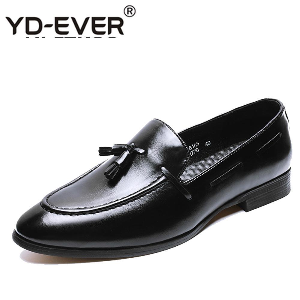 c3c43cad56 Compre Zapatos De Cuero De Borla De Charol Hombres Marca De Lujo Buisness  Pisos Vestido Brillante Calzado De Trabajo Diseñador De Oficina Zapatos  Oxford ...