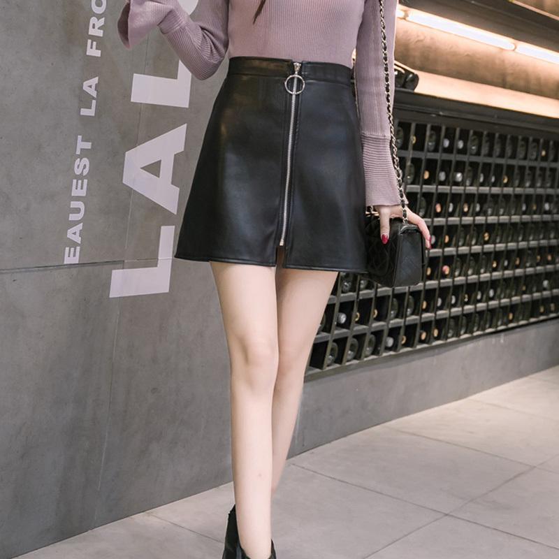 fbc8c4d5bb Compre Primavera Verano Casual Pu Falda De Cuero Mujeres Elegante Cremallera  Mini Una Línea De Falda Lady Skinny Faldas De Cintura Alta Negro A  26.22  Del ...
