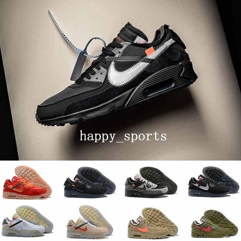 2019 off white nike air max 90 New Black White Desert Designer Sneakers Classic 90 para hombre Zapatillas de correr para mujer Deportes Hombres