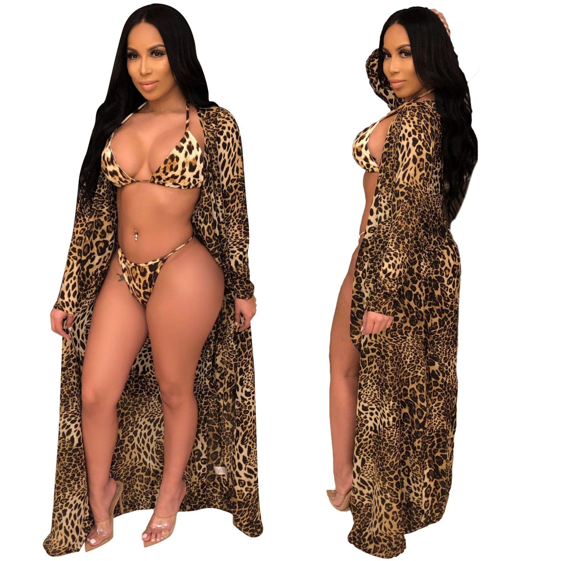 Spot 6203 ladies fashion explosion models Europe and America leopard swimsuit bikini three-piece hoodies woman DRESSES women sport Printed