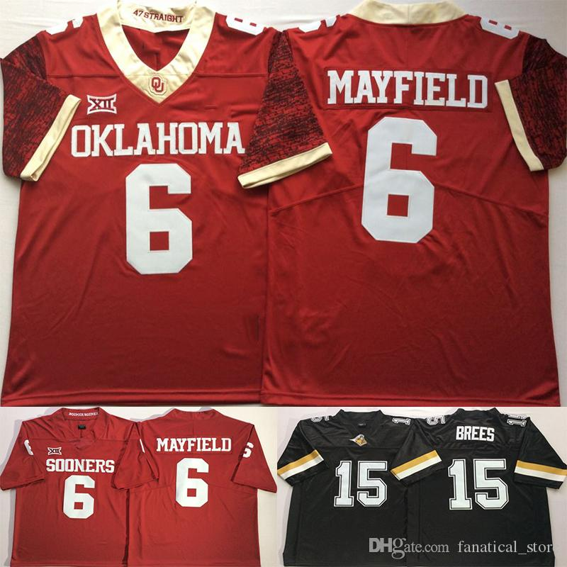 Mens 2018 NCAA Oklahoma Sooners 6 Baker Mayfield Purdue Boilermakers 15  Drew Brees College Football Jerseys UK 2019 From Fanatical store b34c63452