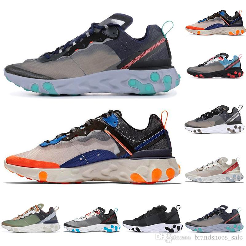 9df25664a9 React Element 87 Running Shoes For Men Women White Black NEPTUNE GREEN Blue  Mens Trainer Designer Breathable Running Sneakers Ladies Running Shoes Kids  ...