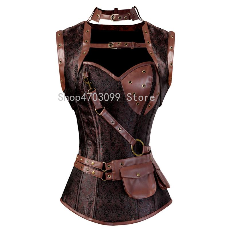 b1b3f4459 2019 Steampunk Corset Spiral Steel Boned Brown Leather Waist Gothic Bustier  With Jacket Halter Lingerie Hot Costumes From Darnelly